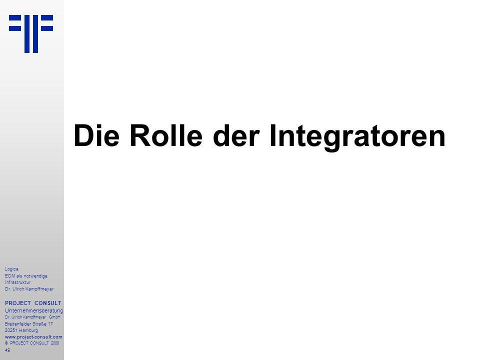 49 Logica ECM als notwendige Infrastruktur Dr. Ulrich Kampffmeyer PROJECT CONSULT Unternehmensberatung Dr. Ulrich Kampffmeyer GmbH Breitenfelder Straß