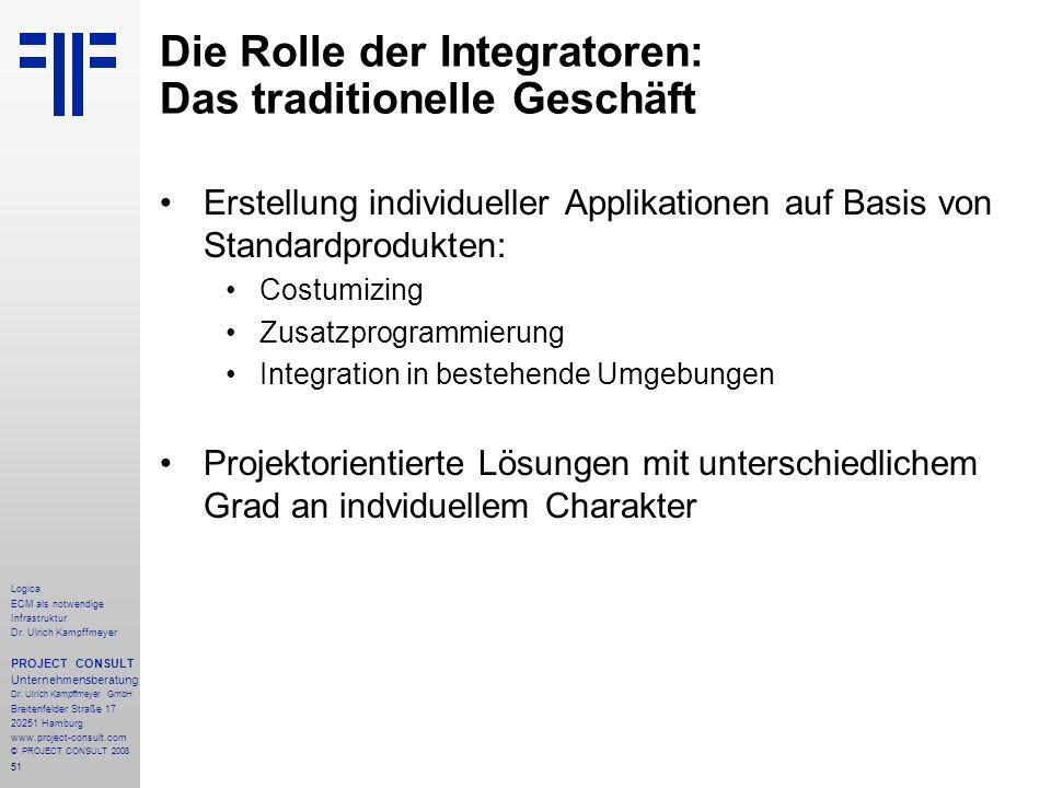 51 Logica ECM als notwendige Infrastruktur Dr. Ulrich Kampffmeyer PROJECT CONSULT Unternehmensberatung Dr. Ulrich Kampffmeyer GmbH Breitenfelder Straß