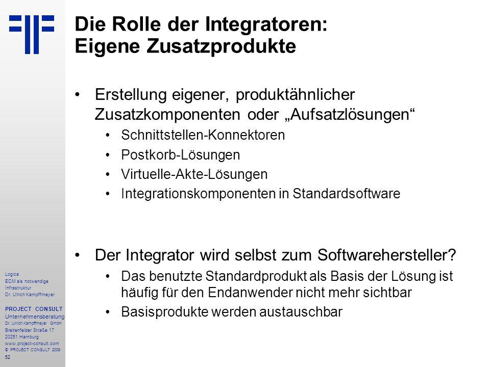 52 Logica ECM als notwendige Infrastruktur Dr. Ulrich Kampffmeyer PROJECT CONSULT Unternehmensberatung Dr. Ulrich Kampffmeyer GmbH Breitenfelder Straß