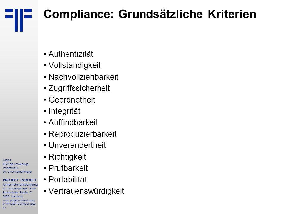 57 Logica ECM als notwendige Infrastruktur Dr. Ulrich Kampffmeyer PROJECT CONSULT Unternehmensberatung Dr. Ulrich Kampffmeyer GmbH Breitenfelder Straß