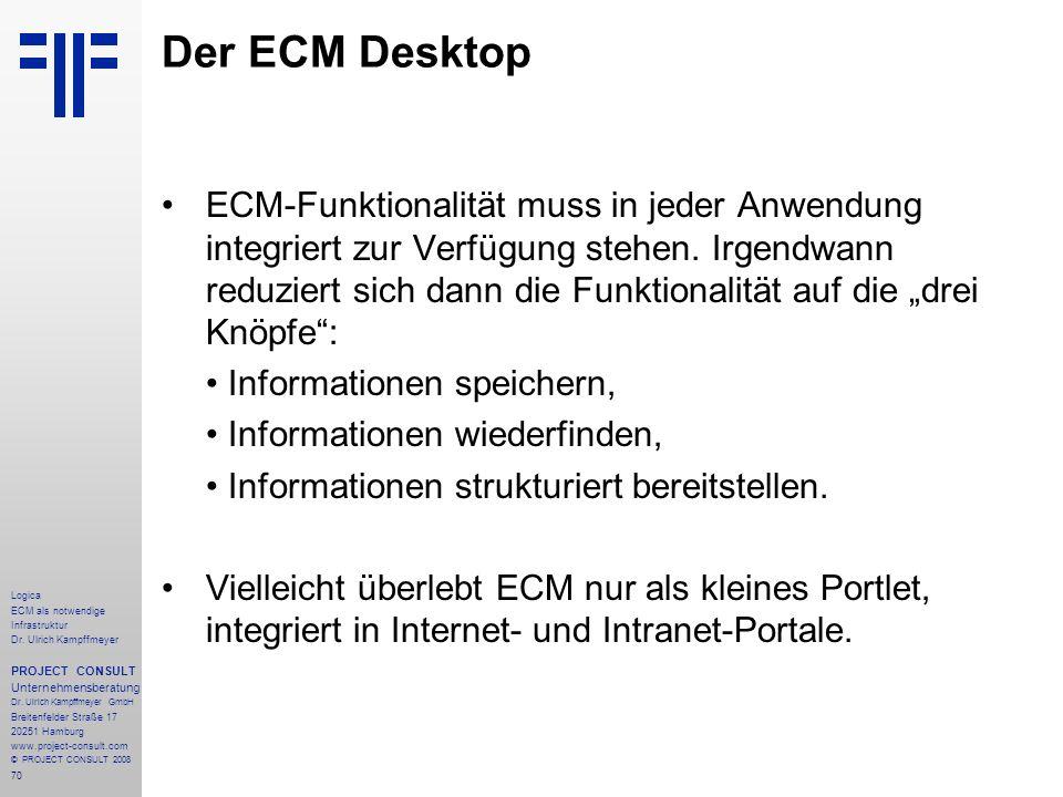 70 Logica ECM als notwendige Infrastruktur Dr. Ulrich Kampffmeyer PROJECT CONSULT Unternehmensberatung Dr. Ulrich Kampffmeyer GmbH Breitenfelder Straß