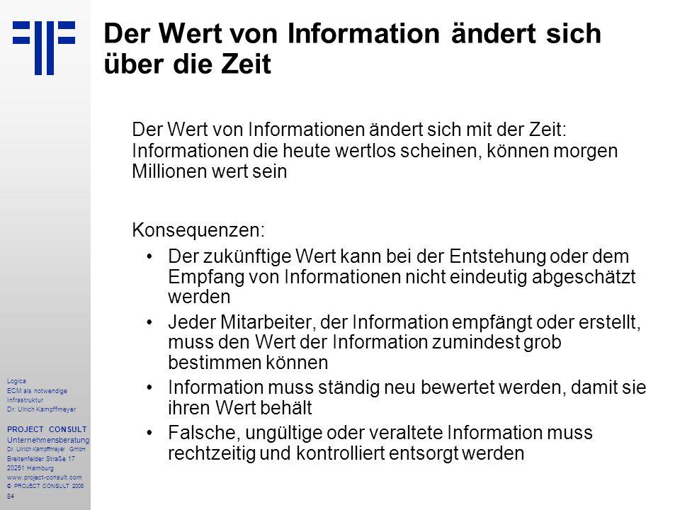 84 Logica ECM als notwendige Infrastruktur Dr. Ulrich Kampffmeyer PROJECT CONSULT Unternehmensberatung Dr. Ulrich Kampffmeyer GmbH Breitenfelder Straß