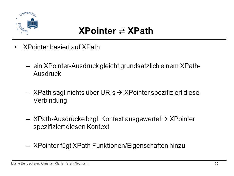 Elaine Bundscherer, Christian Klaffer, Steffi Neumann 20 XPointer XPath XPointer basiert auf XPath: –ein XPointer-Ausdruck gleicht grundsätzlich einem