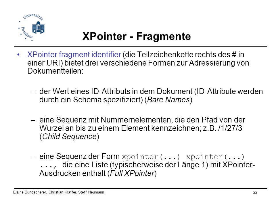 Elaine Bundscherer, Christian Klaffer, Steffi Neumann 22 XPointer - Fragmente XPointer fragment identifier (die Teilzeichenkette rechts des # in einer