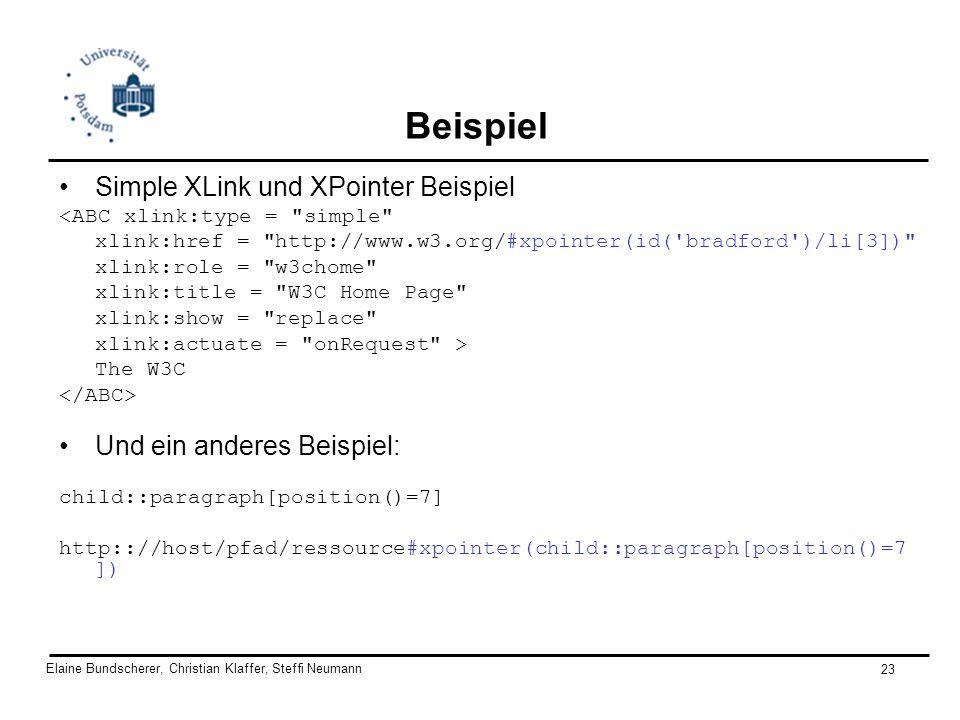 Elaine Bundscherer, Christian Klaffer, Steffi Neumann 23 Beispiel Simple XLink und XPointer Beispiel <ABC xlink:type =