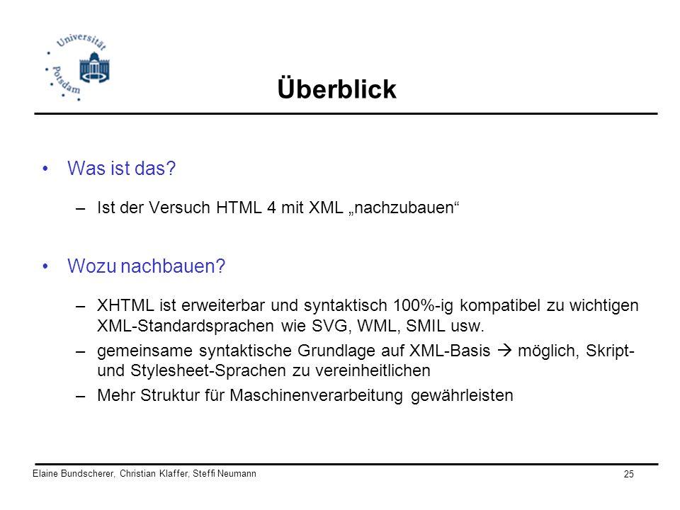 Elaine Bundscherer, Christian Klaffer, Steffi Neumann 25 Überblick Was ist das? –Ist der Versuch HTML 4 mit XML nachzubauen Wozu nachbauen? –XHTML ist