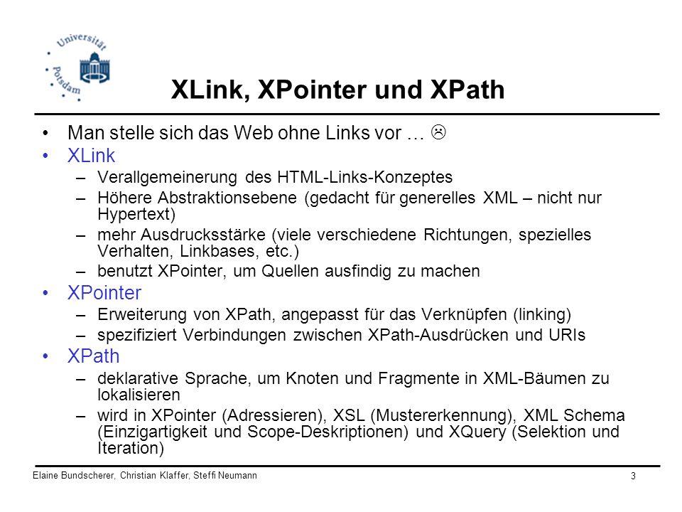 Elaine Bundscherer, Christian Klaffer, Steffi Neumann 14 HTML - Beschränkungen HTML - Links: –Links werden mit Elementnamen identifiziert (a, img, etc.) –Linksemantik in der HTML-Spezifikation ist genau festgelegt XML sucht eine generische Lösung es sollten abstrakte Semantikmerkmale erkannt werden HTML eingeschränkt man braucht einen Mechanismus, um Inhalt zu referenzieren, nicht nur den Platz/Ort XLink bietet erweiterte Verhaltenseigenschaften, die das Hyperlinking flexibler machen (multiple Ziele, Rollen, Ressourcen und Reaktionen auf Elemente werden verknüpft)