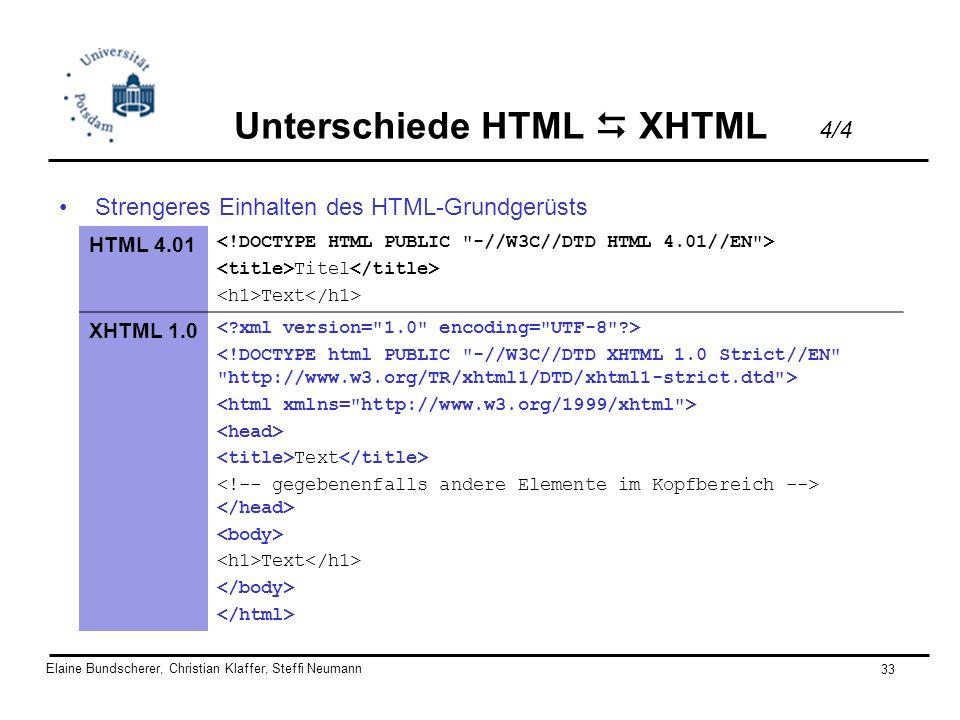 Elaine Bundscherer, Christian Klaffer, Steffi Neumann 33 Strengeres Einhalten des HTML-Grundgerüsts HTML 4.01 Titel Text XHTML 1.0 Text Text Unterschi