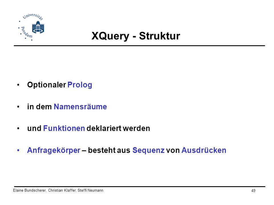 Elaine Bundscherer, Christian Klaffer, Steffi Neumann 49 XQuery - Struktur Optionaler Prolog in dem Namensräume und Funktionen deklariert werden Anfra