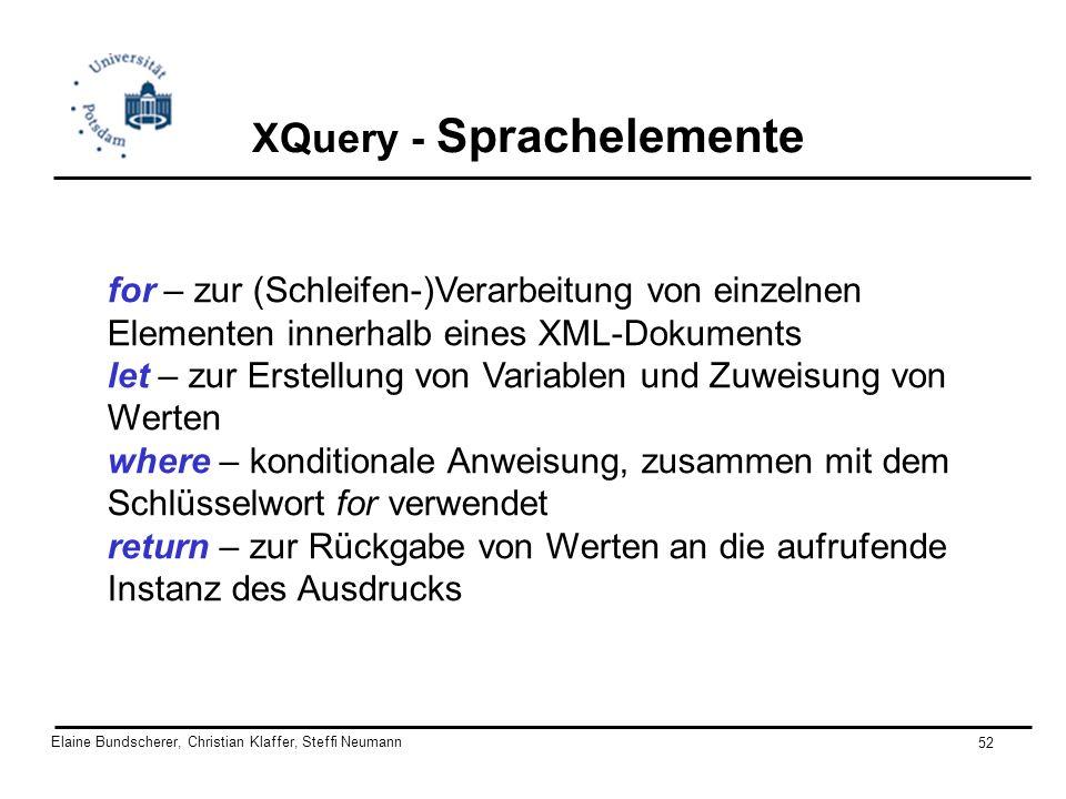 Elaine Bundscherer, Christian Klaffer, Steffi Neumann 52 XQuery - Sprachelemente for – zur (Schleifen-)Verarbeitung von einzelnen Elementen innerhalb