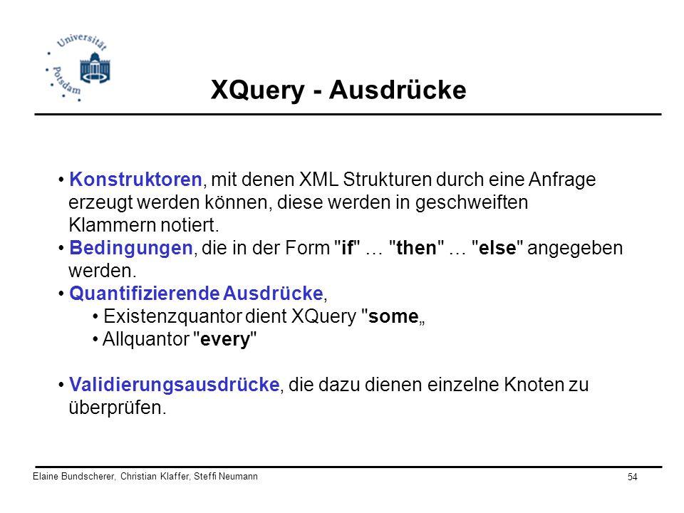 Elaine Bundscherer, Christian Klaffer, Steffi Neumann 54 XQuery - Ausdrücke Konstruktoren, mit denen XML Strukturen durch eine Anfrage erzeugt werden