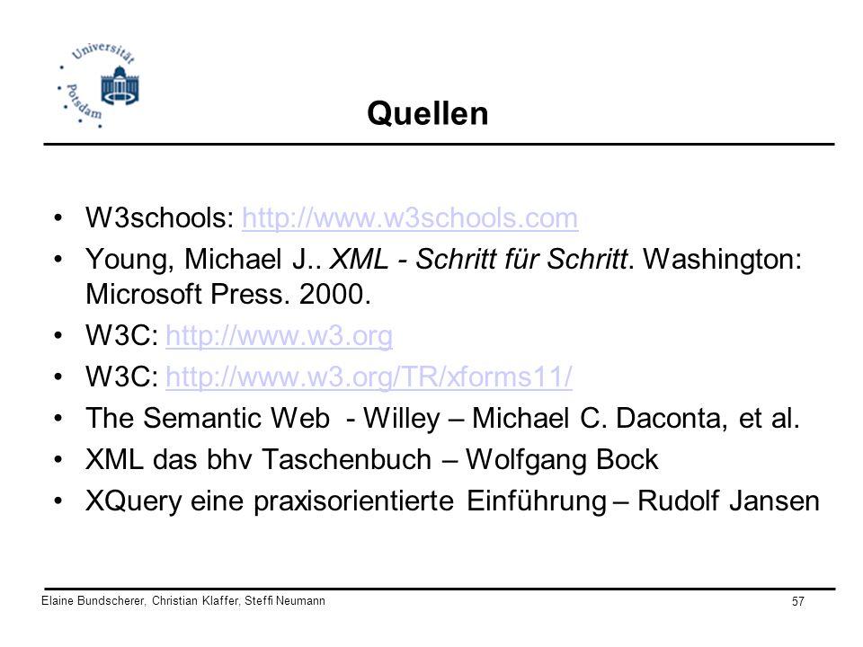 Elaine Bundscherer, Christian Klaffer, Steffi Neumann 57 Quellen W3schools: http://www.w3schools.comhttp://www.w3schools.com Young, Michael J.. XML -