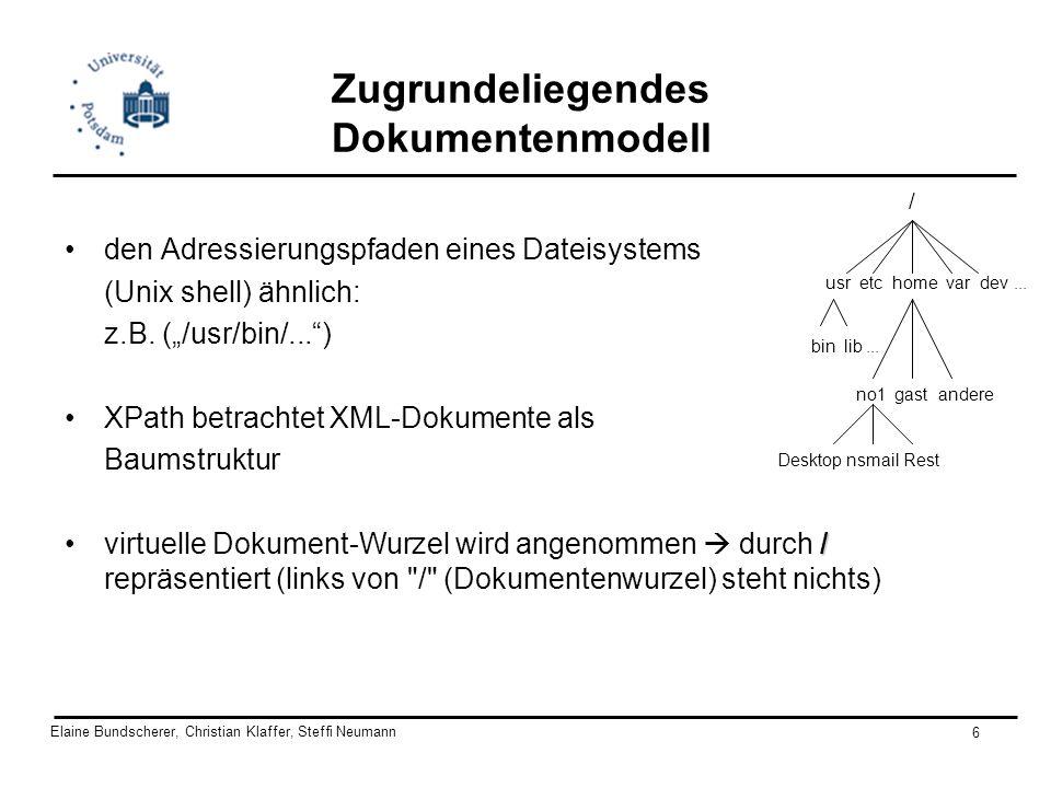 Elaine Bundscherer, Christian Klaffer, Steffi Neumann 6 Zugrundeliegendes Dokumentenmodell den Adressierungspfaden eines Dateisystems (Unix shell) ähn