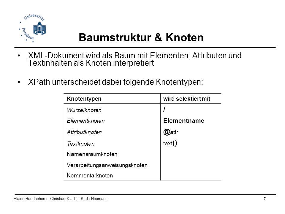 Elaine Bundscherer, Christian Klaffer, Steffi Neumann 8 Location Path & Location Step das zentrale Konstrukt von XPath (Pfad-Ausdrücke): location path, welcher eine Sequenz von Lokalisierungsschritten (location steps) darstellt, die durch / getrennt sind z.B.: child::sektion[position()<6] / descendant::zitat / attribute::href selektiert alle href -Attribute in den zitat -Elementen in den ersten 5 sektionen eines Magazindokumentes absolute location path: /step1/step2 relative location path: step1/step2 Location step: axisname::nodetest[predicate] z.B.: child::sektion[position()<6]
