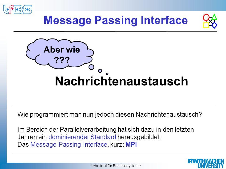 Lehrstuhl für Betriebssysteme Message Passing Interface Die Programmierung erfolgt dabei durch den Aufruf expliziter Sende- und Empfangsfunktionen (z.B.