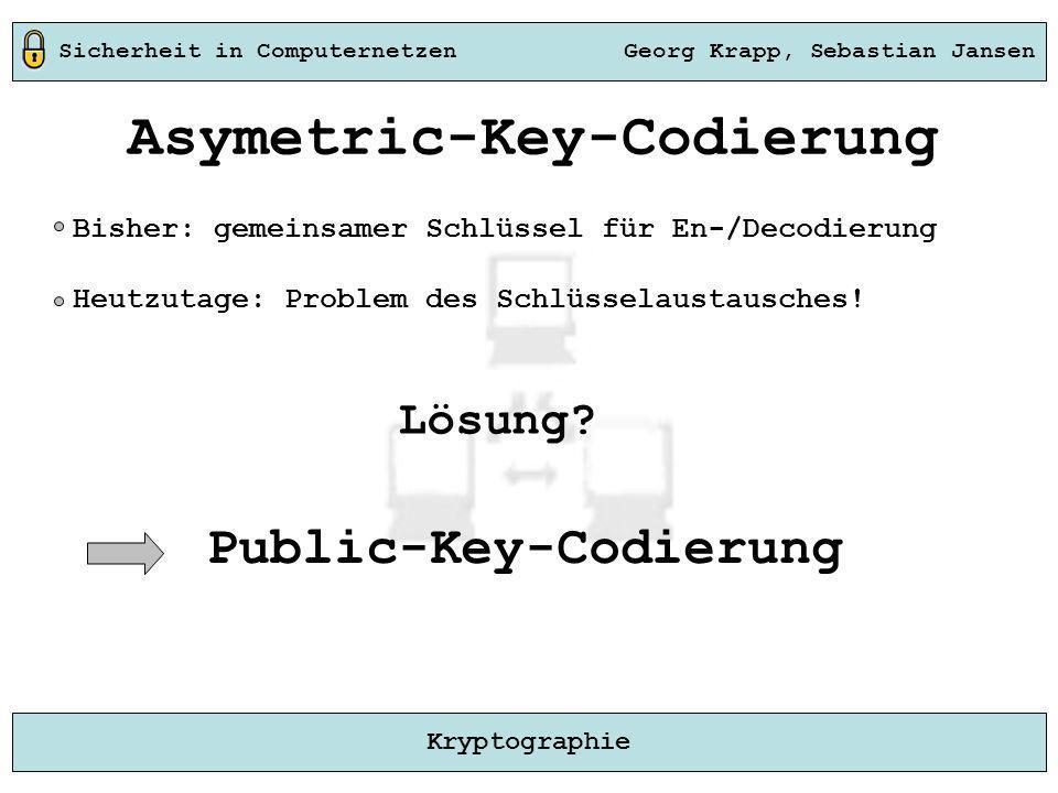 Sicherheit in Computernetzen Georg Krapp, Sebastian Jansen Kryptographie Asymetric-Key-Codierung Bisher: gemeinsamer Schlüssel für En-/Decodierung Heu