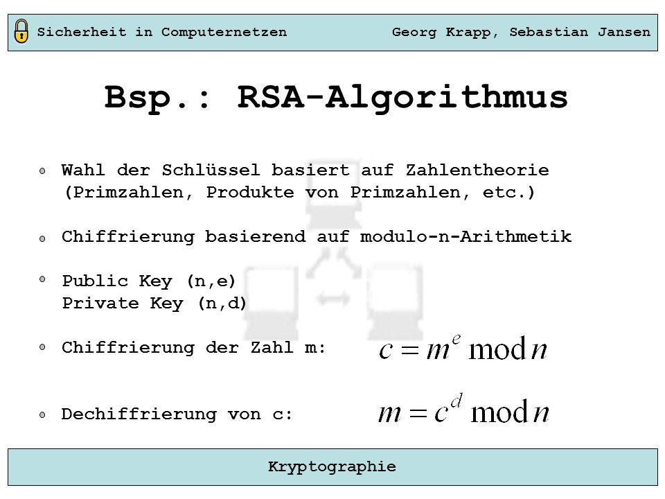 Sicherheit in Computernetzen Georg Krapp, Sebastian Jansen Kryptographie Bsp.: RSA-Algorithmus Wahl der Schlüssel basiert auf Zahlentheorie (Primzahle