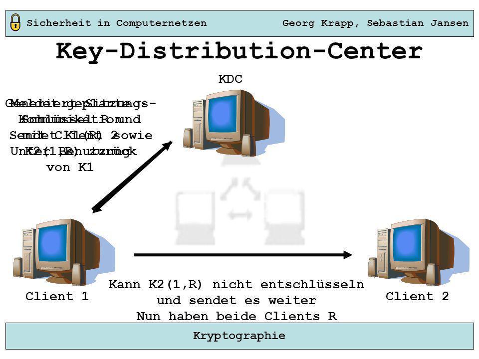 Sicherheit in Computernetzen Georg Krapp, Sebastian Jansen Kryptographie Key-Distribution-Center Meldet geplante Kommunikation mit Client 2 Unter Benu