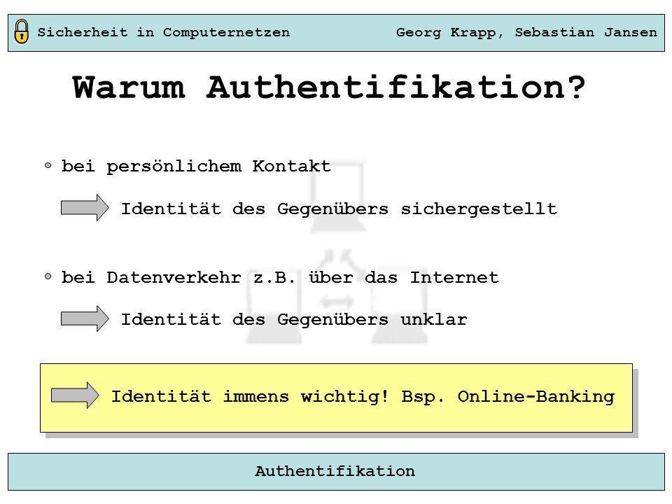 Sicherheit in Computernetzen Georg Krapp, Sebastian Jansen Authentifikation Warum Authentifikation? bei persönlichem Kontakt Identität des Gegenübers
