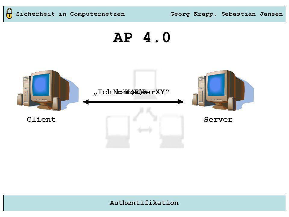 Sicherheit in Computernetzen Georg Krapp, Sebastian Jansen Authentifikation Server Ich bin UserXY AP 4.0 Nonce RK(R) Client