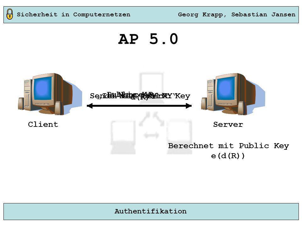 Sicherheit in Computernetzen Georg Krapp, Sebastian Jansen Authentifikation Server Ich bin UserXY AP 5.0 Nonce R d(R) Berechnet mit Public Key e(d(R))