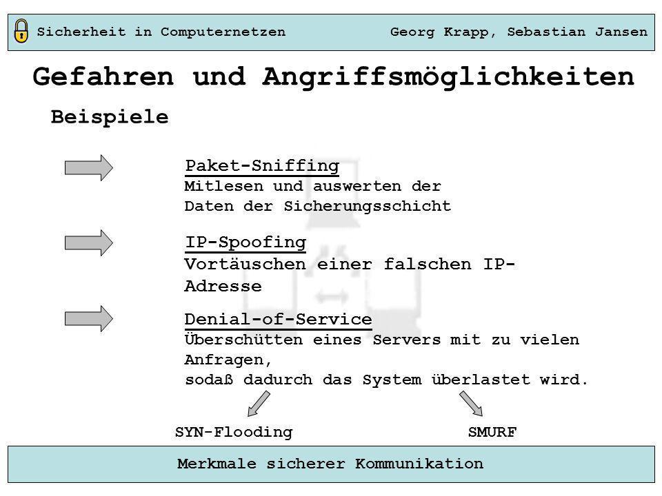 Sicherheit in Computernetzen Georg Krapp, Sebastian Jansen Merkmale sicherer Kommunikation Beispiele Gefahren und Angriffsmöglichkeiten Denial-of-Serv