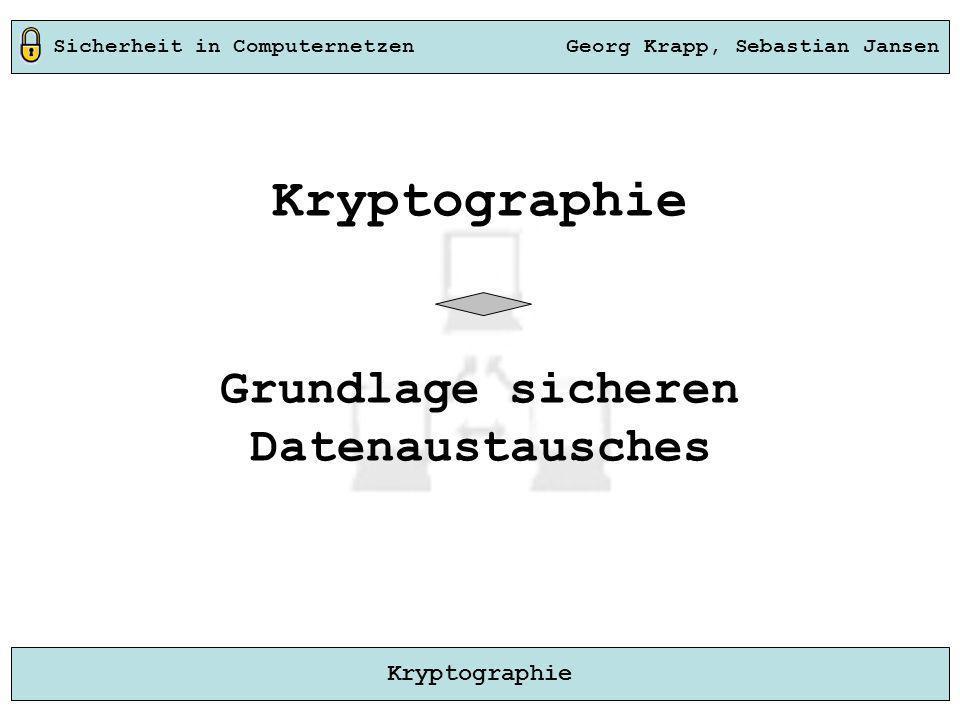 Sicherheit in Computernetzen Georg Krapp, Sebastian Jansen Kryptographie Kryptographie Grundlage sicheren Datenaustausches
