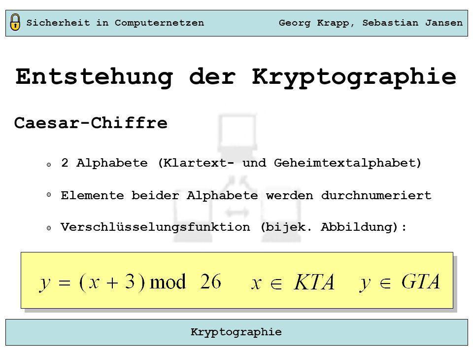 Sicherheit in Computernetzen Georg Krapp, Sebastian Jansen Kryptographie Entstehung der Kryptographie Caesar-Chiffre 2 Alphabete (Klartext- und Geheim