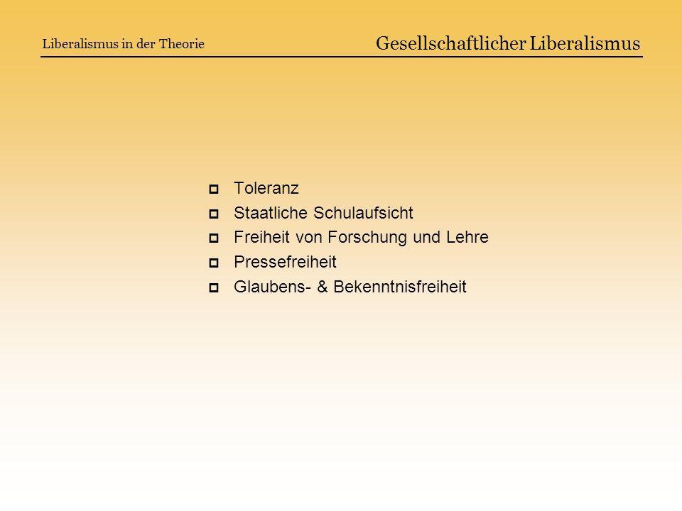 Gesellschaftlicher Liberalismus Toleranz Staatliche Schulaufsicht Freiheit von Forschung und Lehre Pressefreiheit Glaubens- & Bekenntnisfreiheit Liber