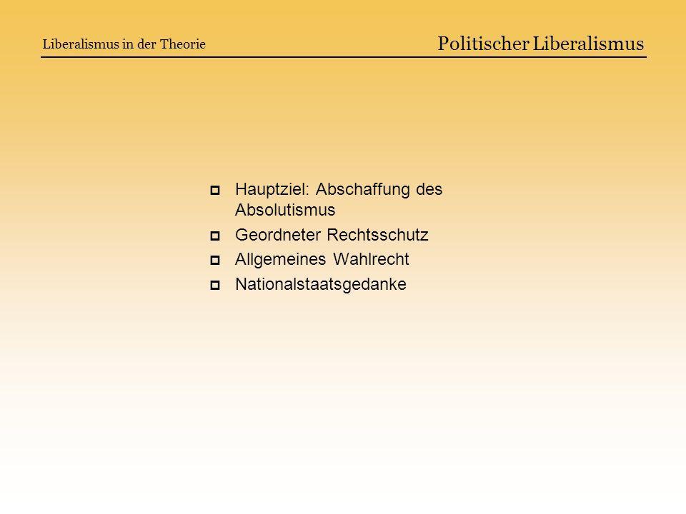Politischer Liberalismus Hauptziel: Abschaffung des Absolutismus Geordneter Rechtsschutz Allgemeines Wahlrecht Nationalstaatsgedanke Liberalismus in d