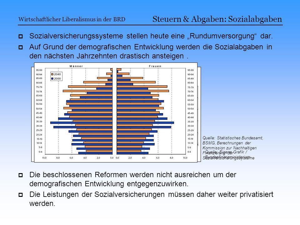 Sozialversicherungssysteme stellen heute eine Rundumversorgung dar. Auf Grund der demografischen Entwicklung werden die Sozialabgaben in den nächsten