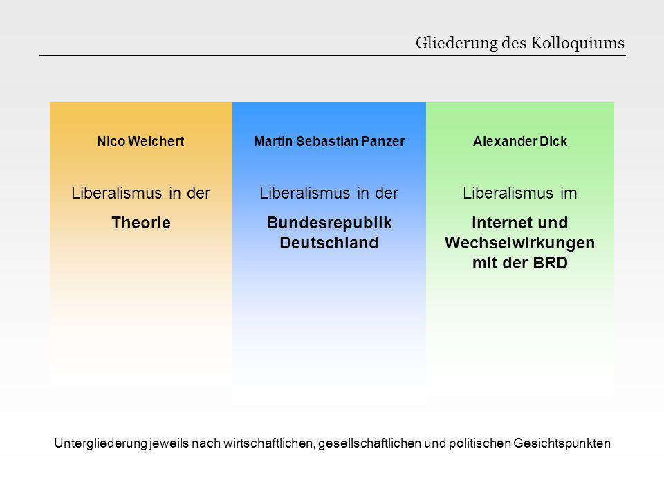 Nico Weichert Liberalismus in der Theorie Martin Sebastian Panzer Liberalismus in der Bundesrepublik Deutschland Alexander Dick Liberalismus im Intern