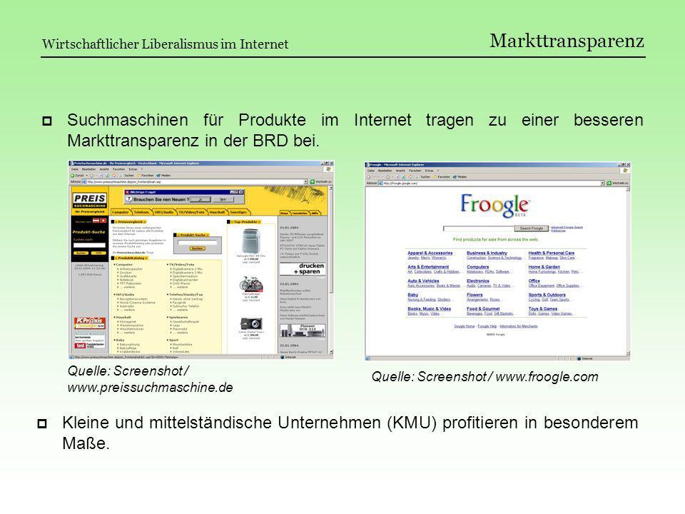 Markttransparenz Suchmaschinen für Produkte im Internet tragen zu einer besseren Markttransparenz in der BRD bei. Kleine und mittelständische Unterneh