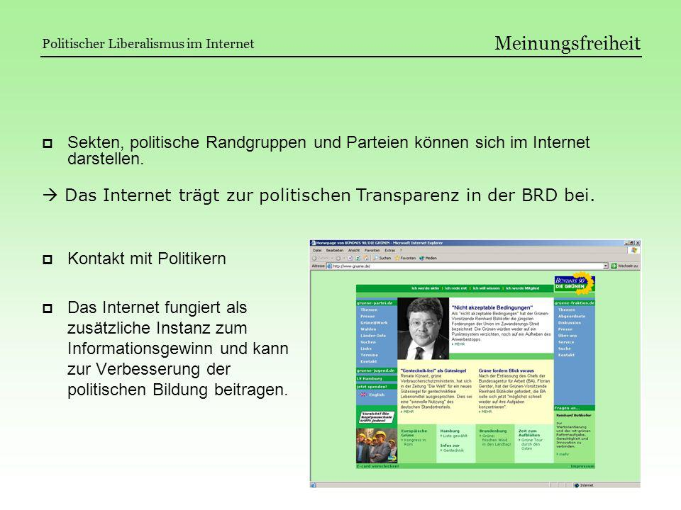 Meinungsfreiheit Sekten, politische Randgruppen und Parteien können sich im Internet darstellen. Kontakt mit Politikern Das Internet fungiert als zusä