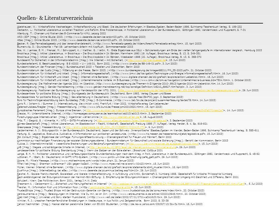 Quellen- & Literaturverzeichnis Abelshauser, W.: Wirtschaftliche Wechsellagen, Wirtschaftsordnung und Staat: Die deutschen Erfahrungen, in Staatsaufga