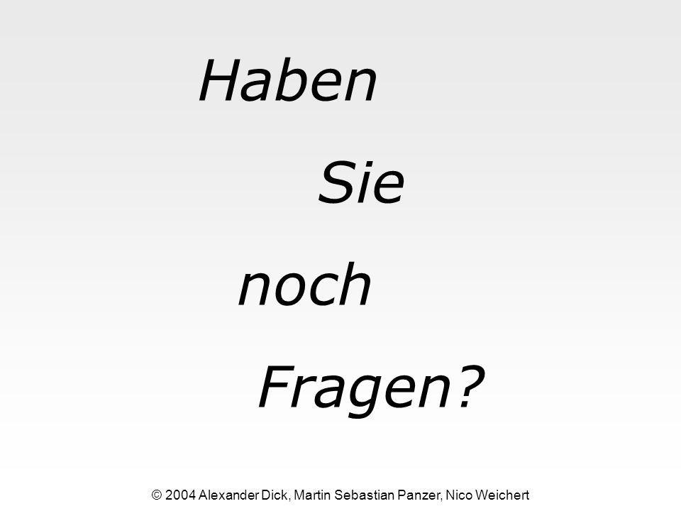 Haben Sie noch Fragen? © 2004 Alexander Dick, Martin Sebastian Panzer, Nico Weichert