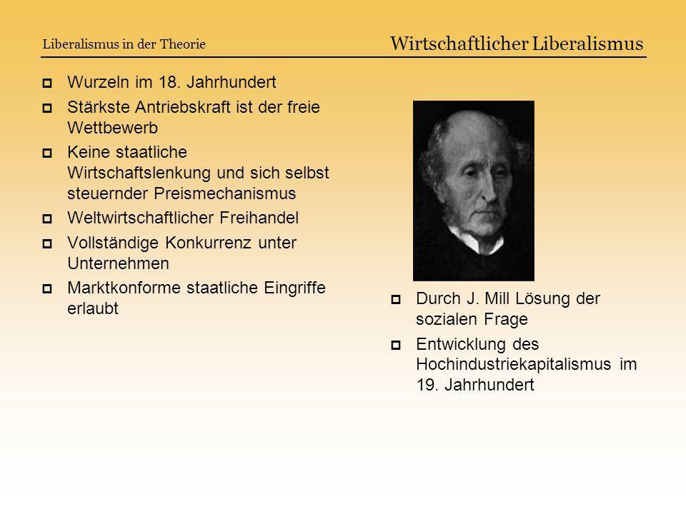 Wurzeln im 18. Jahrhundert Stärkste Antriebskraft ist der freie Wettbewerb Keine staatliche Wirtschaftslenkung und sich selbst steuernder Preismechani