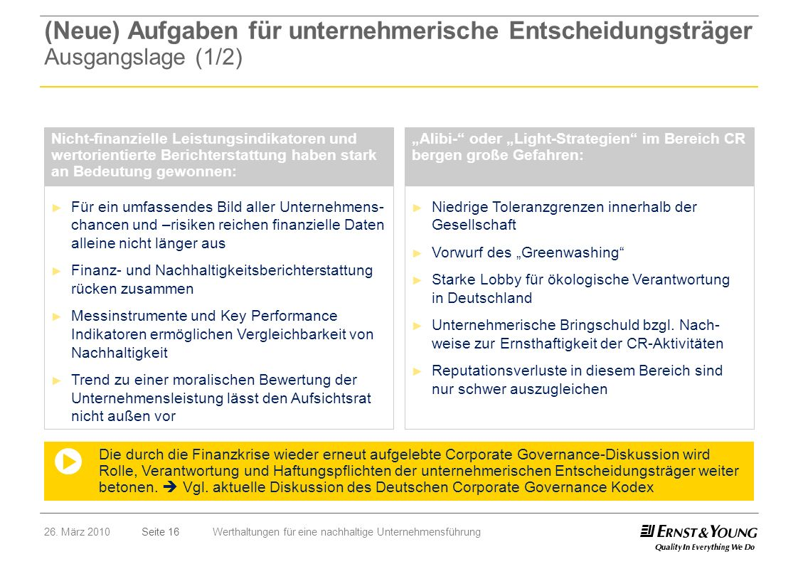 Seite 1626. März 2010Werthaltungen für eine nachhaltige Unternehmensführung Für ein umfassendes Bild aller Unternehmens- chancen und –risiken reichen
