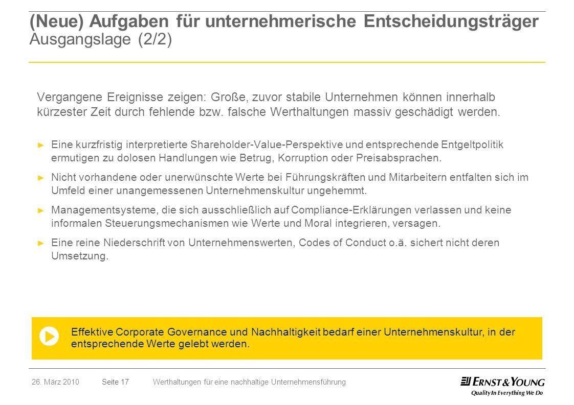 Seite 1726. März 2010Werthaltungen für eine nachhaltige Unternehmensführung (Neue) Aufgaben für unternehmerische Entscheidungsträger Ausgangslage (2/2