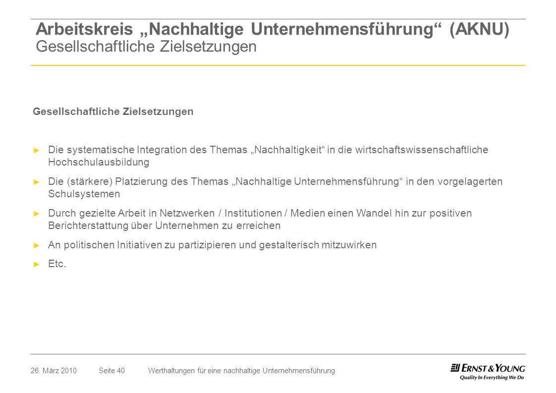 Seite 4026. März 2010Werthaltungen für eine nachhaltige Unternehmensführung Gesellschaftliche Zielsetzungen Die systematische Integration des Themas N
