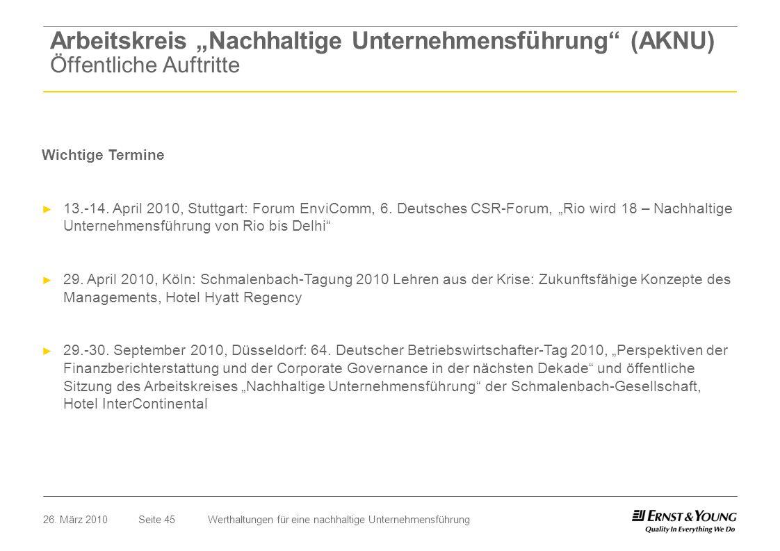 Seite 4526. März 2010Werthaltungen für eine nachhaltige Unternehmensführung Wichtige Termine 13.-14. April 2010, Stuttgart: Forum EnviComm, 6. Deutsch