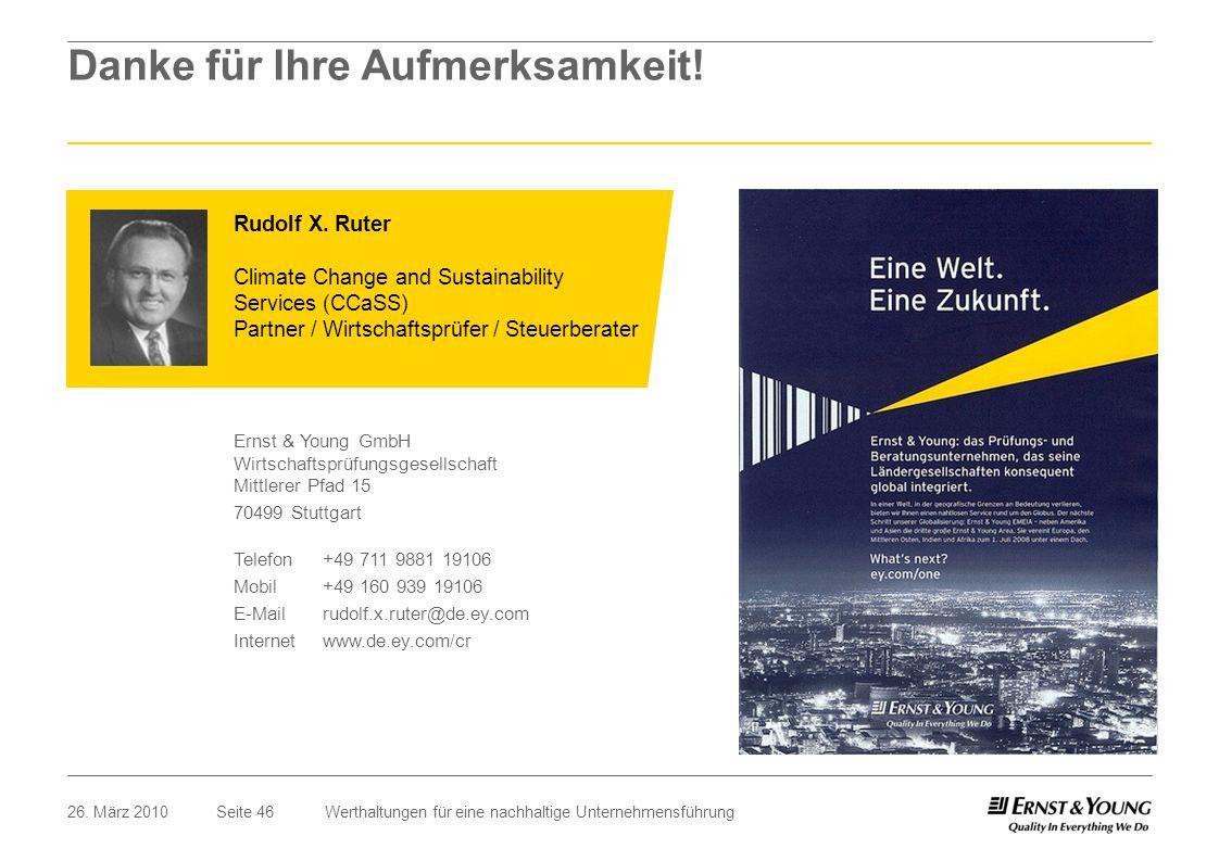 Seite 4626. März 2010Werthaltungen für eine nachhaltige Unternehmensführung Rudolf X. Ruter Climate Change and Sustainability Services (CCaSS) Partner