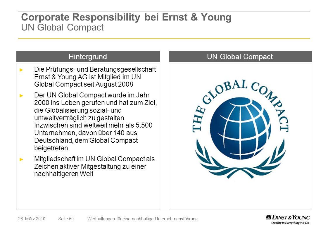 Seite 5026. März 2010Werthaltungen für eine nachhaltige Unternehmensführung UN Global Compact Die Prüfungs- und Beratungsgesellschaft Ernst & Young AG