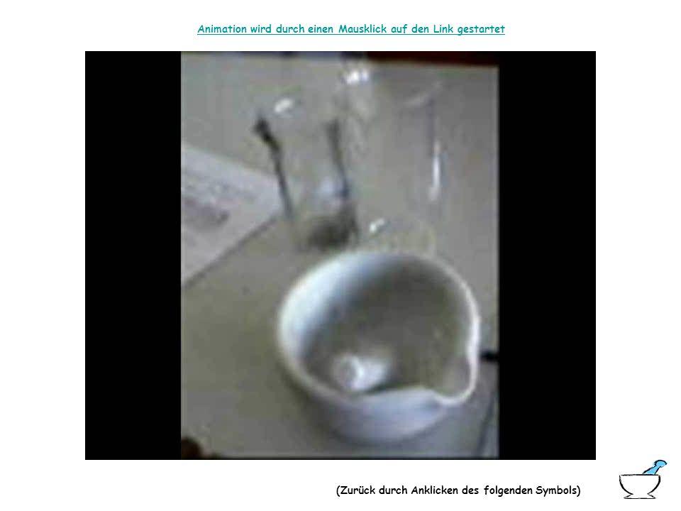 Versuchsanleitung: Zwei Bechergläser werden mit folgenden Mischungen gefüllt (Die einzelnen Pulver sollten zuvor getrennt voneinander fein verrieben w