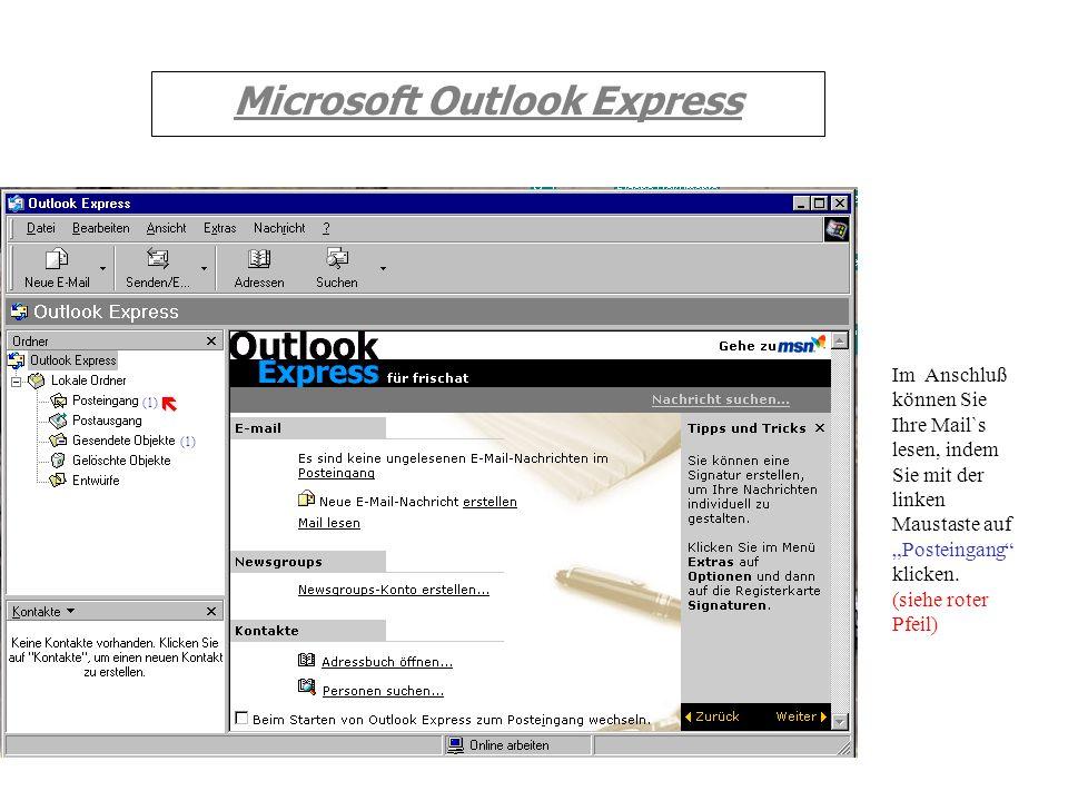 Microsoft Outlook Express Es erscheint nebenstehende Abbildung. Nun geschehen zweierlei Dinge: 1 : Das eigentliche Senden der Nachrichten. 2 : Das Abh