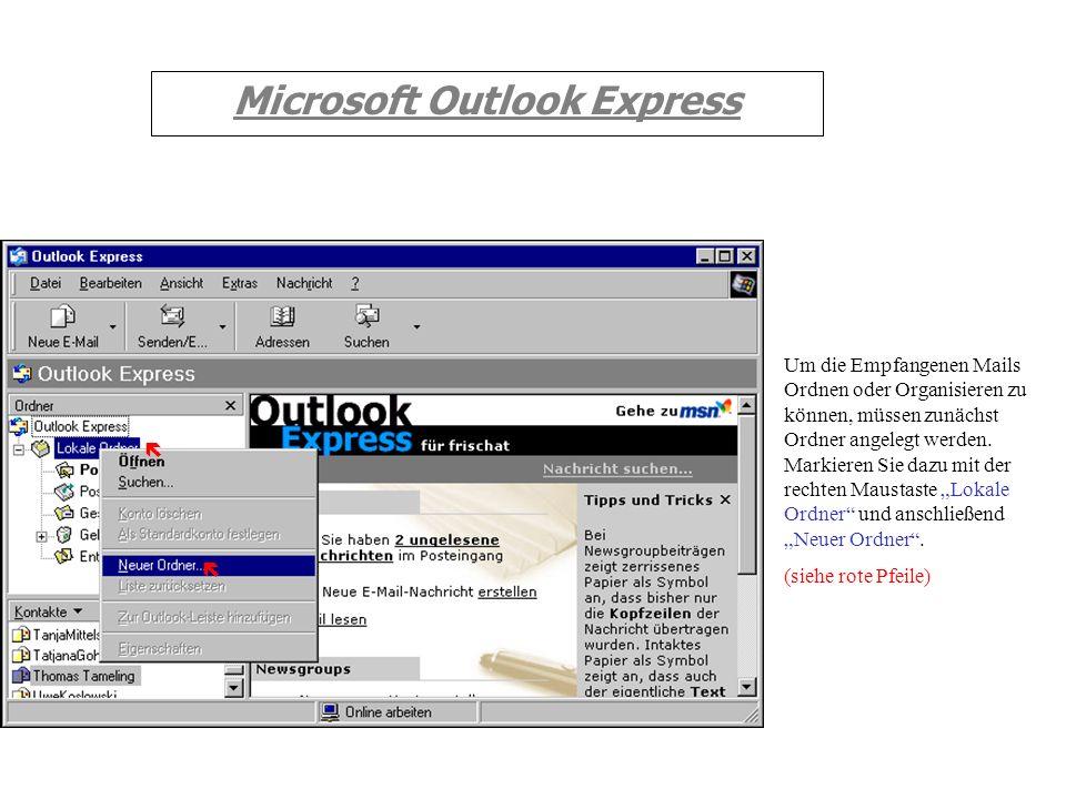 Microsoft Outlook Express Durch Markieren der Mail (siehe roter Pfeil) erscheint im unteren Fenster der Mailtext. (siehe grüner Pfeil) (1) Sie erhalte
