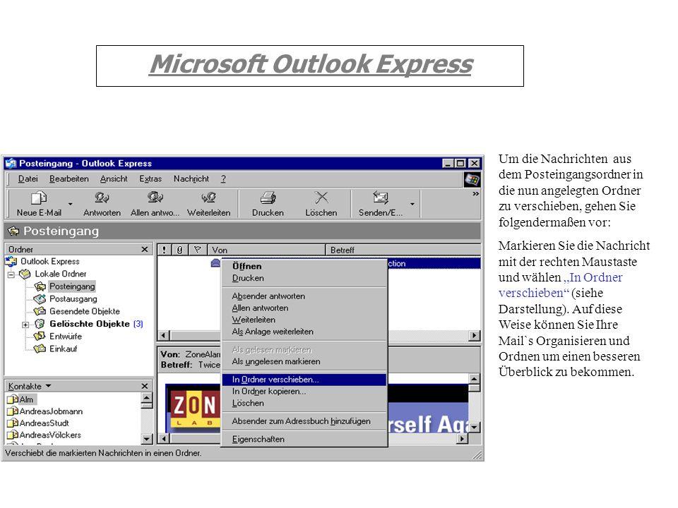 Microsoft Outlook Express In das Feld Ordnername tragen Sie den Namen ein. In unserem Beispiel soll der Ordner Einkauf heißen. In der darunter gezeigt
