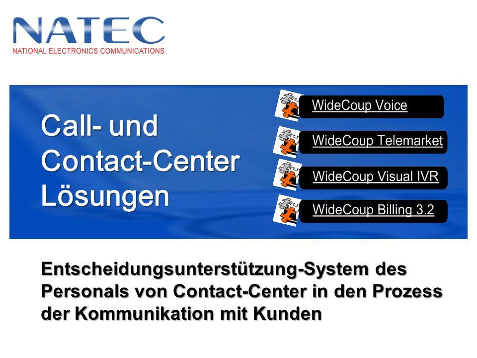 Call- und Contact-CenterLösungen Entscheidungsunterstützung-System des Personals von Contact-Center in den Prozess der Kommunikation mit Kunden