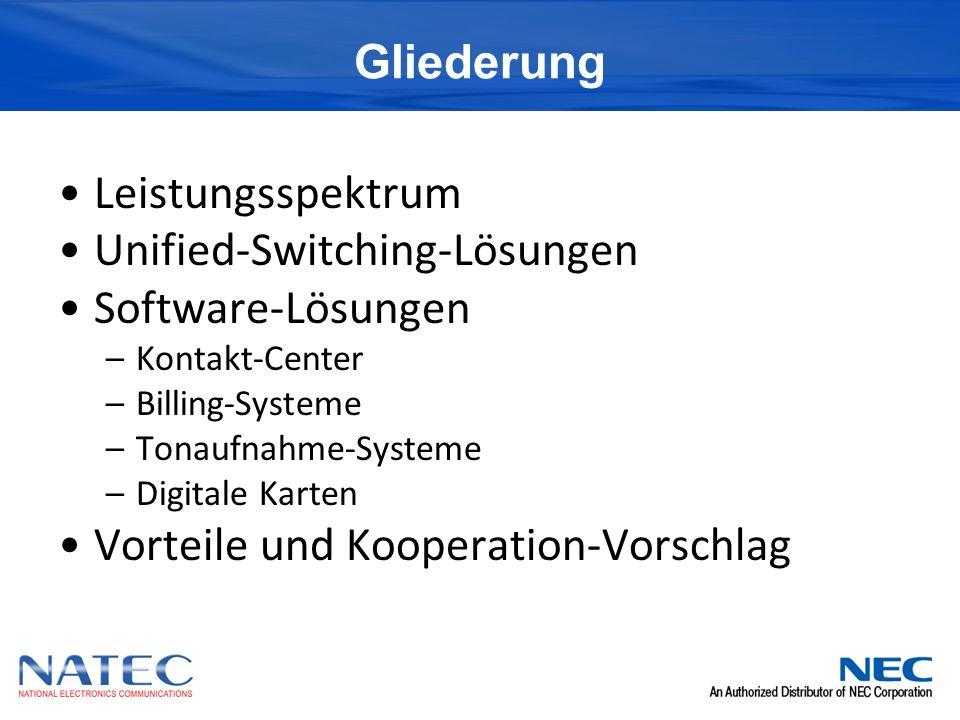Gliederung Leistungsspektrum Unified-Switching-Lösungen Software-Lösungen –Kontakt-Center –Billing-Systeme –Tonaufnahme-Systeme –Digitale Karten Vorteile und Kooperation-Vorschlag