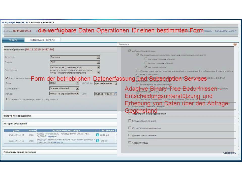 Adaptive Binary Tree Bedürfnissen - Entscheidungsunterstützung und Erhebung von Daten über den Abfrage- Gegenstand die verfügbare Daten-Operationen für einen bestimmten Form Form der betrieblichen Datenerfassung und Subscription Services